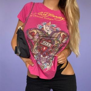 Ed Hardy Pink Bedazzled Tee